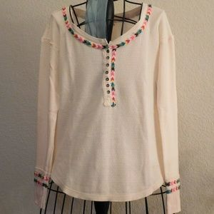 Free People Ivory Rainbow Thermal Henley Top Shirt